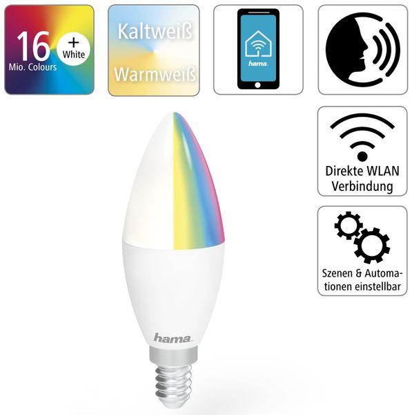 LED-Lampe HAMA, WLAN, E14, 5,5 W, EEK: A+, 470 lm, RGB + CCT, dimmbar - Produktbild 2