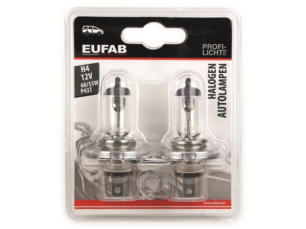 Halogen-Autolampe EUFAB H4, 12V, 60/55W, P43T, 2 Stück - Produktbild 2