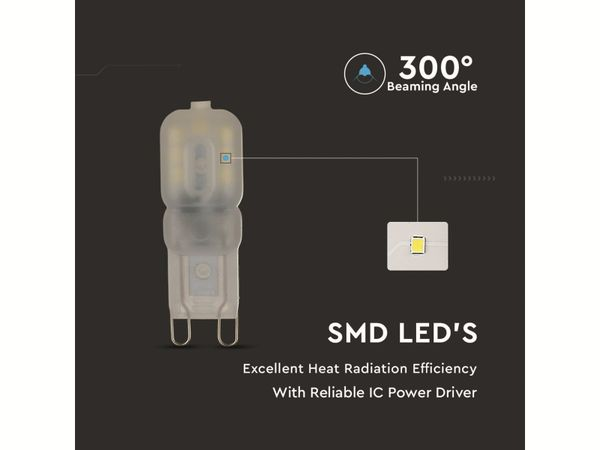 LED-Lampe VT-1946 (4466), G9, EEK: G, 2,5 W, 200 lm, 3000 K - Produktbild 2