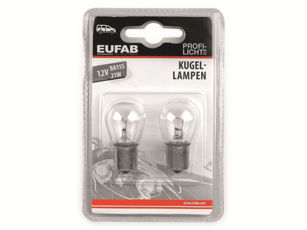 KFZ-Glühlampe EUFAB 12 V, 21 W, BA15S 2 Stück - Produktbild 2