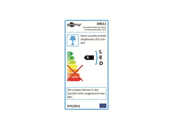 LED-Fluter GOOBAY Slim Classic 39011, EEK: A+, 10 W, 800lm, 4000 K, IP 44, schwarz - Produktbild 5