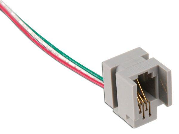Modular-Einbaubuchse mit Anschlusslitzen, 4P4C