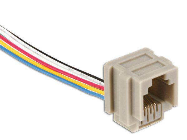 Modular-Einbaubuchse mit Anschlusslitzen, 6P6C