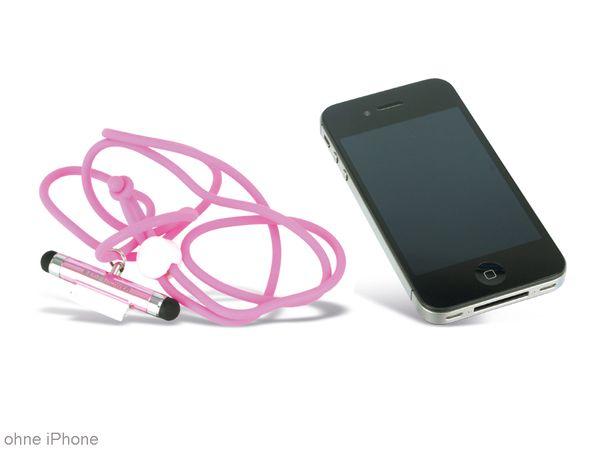 Touch-Pen mit Anschlussschutz und Umhängeband, RED4POWER, pink - Produktbild 1