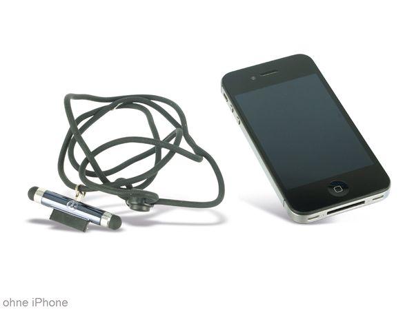 Touch-Pen mit Anschlussschutz und Umhängeband, RED4POWER, schwarz - Produktbild 1