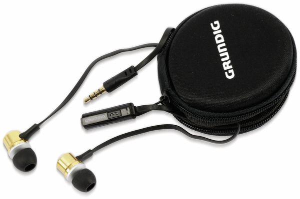 In-Ear Headset mit Flachkabel GRUNDIG 86353, gold/schwarz - Produktbild 1