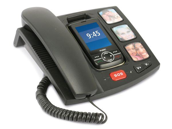 Großtasten-Mobiltelefon mit Basisstation FYSIC FM-810, B-Ware - Produktbild 1