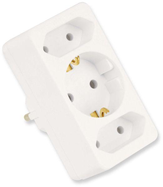 Euro- und Schutzkontakt-Adapterstecker, weiß