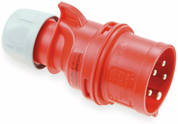 CEE Stecker mit Phasenwender PCE Shark, 5-polig, 32 A, 400 V, IP44