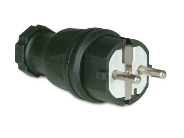 Gummi-Schutzkontaktstecker PCE, schwarz, IP44 - Produktbild 2