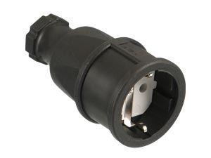 Gummi-Schutzkontaktkupplung PCE 2510-s, schwarz, IP20