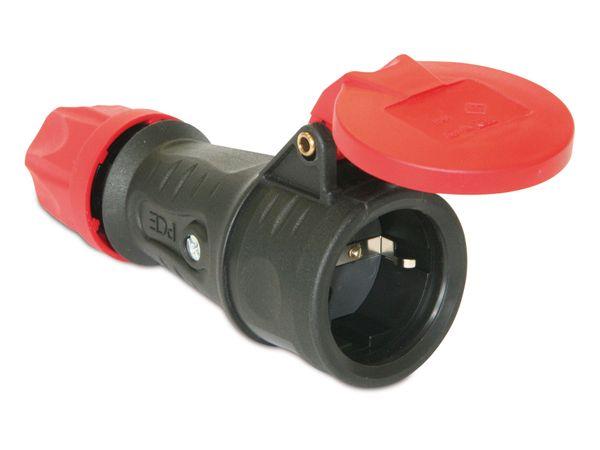Gummi-Schutzkontaktkupplung PCE 25622-s, schwarz, IP44, Klappdeckel - Produktbild 2