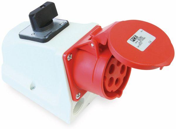 CEE-Wandsteckdose PCE, Schalter, 5-polig, 32 A, 400 V, IP44