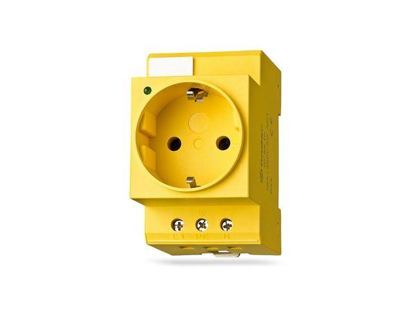 Schutzkontakt-Steckdose für DIN-Schiene FINDER 07.98.00, gelb