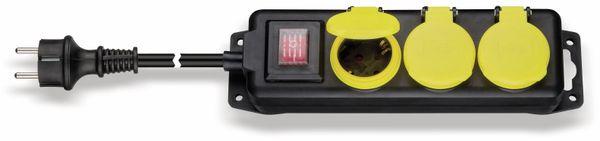 Steckdosenleiste 3-fach; spritzwassergeschützt, IP 44, 3m Kabel, schwarz - Produktbild 1