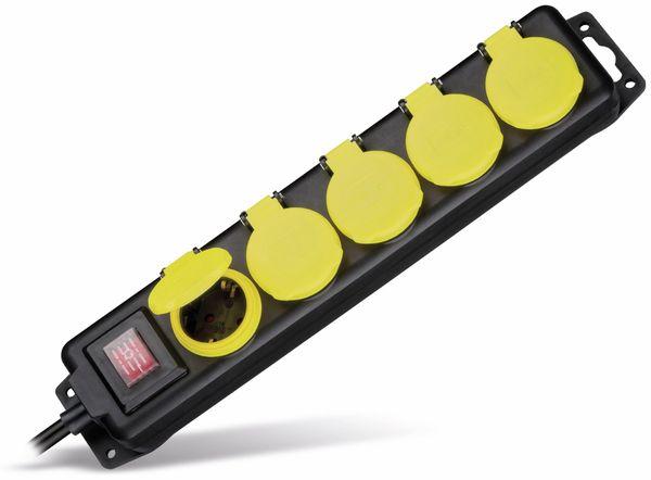 Steckdosenleiste 5-fach; spritzwassergeschützt, IP 44, 3m Kabel, schwarz - Produktbild 1