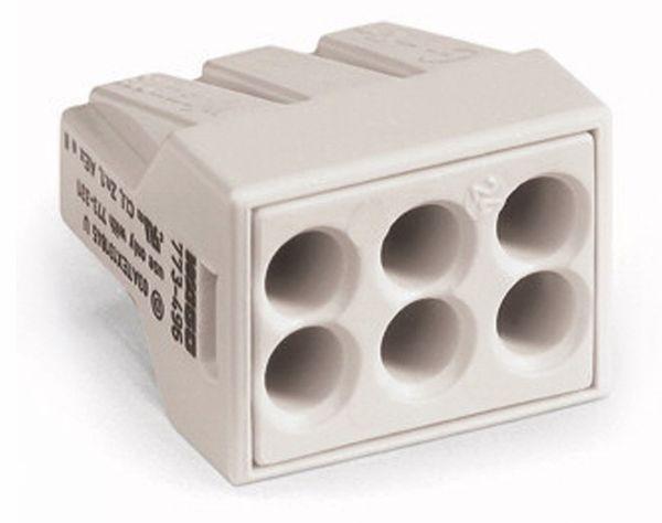 Verbindungsdosenklemme WAGO 773-496, 6 Leiter, lichtgrau, 50 Stück