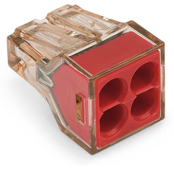 Verbindungsdosenklemme WAGO 773-604, 4 Leiter, braun-transparent, 100 Stück