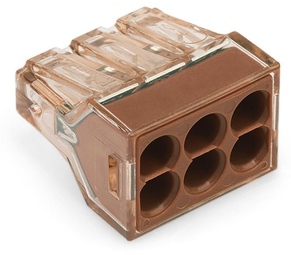 Verbindungsdosenklemme WAGO 773-606, 6 Leiter, braun-transparent, 50 Stück