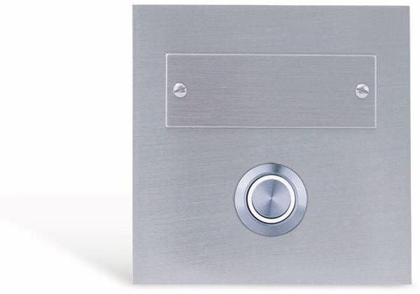 Klingeltaster REV, 1-fach, Edelstahl, beleuchtet, weiß, 80x80x15 mm
