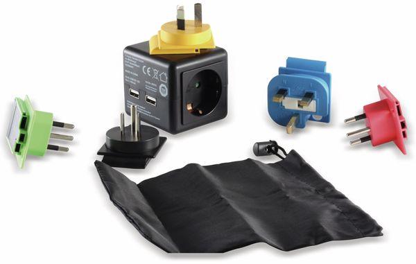 Welt-Reiseadapter mit Schutzkontakt-Steckdose, 2x USB, TÜV - Produktbild 1