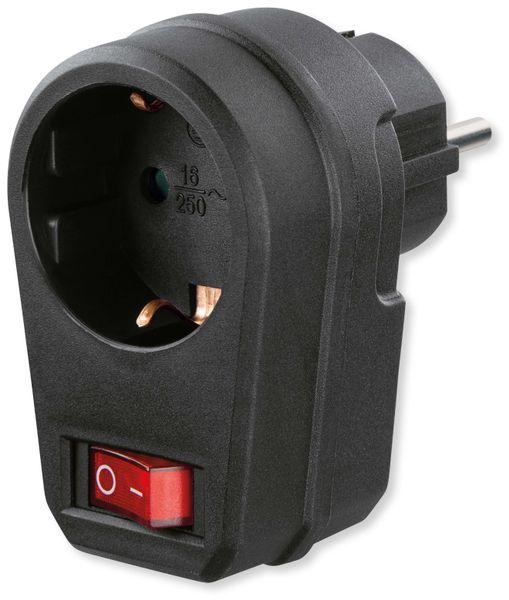 Schutzkontakt-Zwischensteckdose mit Schalter, 16 A, schwarz - Produktbild 1