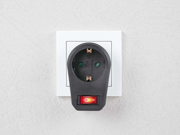 Schutzkontakt-Zwischensteckdose mit Schalter, 16 A, schwarz - Produktbild 2