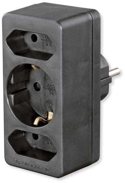 Euro- und Schutzkontakt-Adapterstecker, schwarz - Produktbild 1