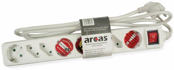 Steckdosenleiste ARCAS, 8-fach, Schalter, weiß