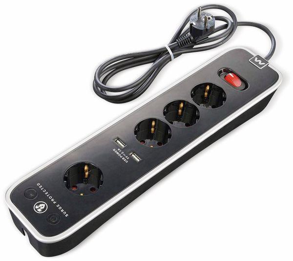 Steckdosenleiste MASTERPLUG, 4-fach,2x USB, Schalter, schwarz