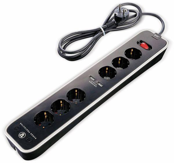 Steckdosenleiste MASTERPLUG, 6-fach,2x USB, Schalter, schwarz