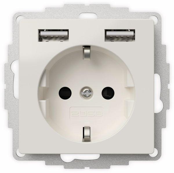 Schutzkontakt-Steckdose 2USB inCharge Pro, 2x USB, 2,4 A, reinweiß glänzend