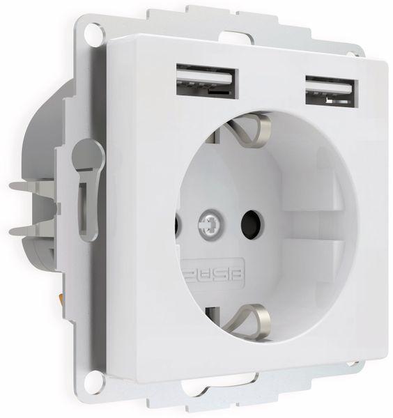 Schutzkontakt-Steckdose 2USB inCharge Pro, 2x USB, 2,4 A, reinweiß glänzend - Produktbild 2