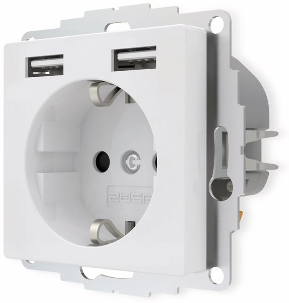 Schutzkontakt-Steckdose 2USB inCharge Pro, 2x USB, 2,4 A, reinweiß glänzend - Produktbild 3
