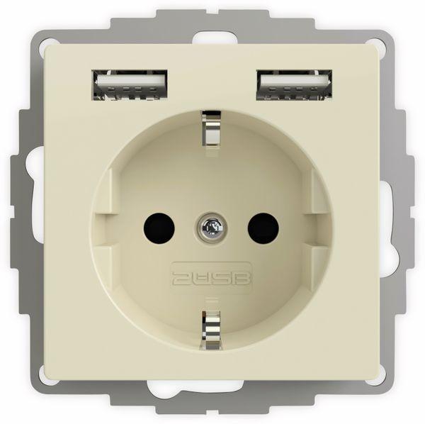 Schutzkontakt-Steckdose 2USB inCharge Pro, 2x USB, 2,4 A, cremeweiß glänzen
