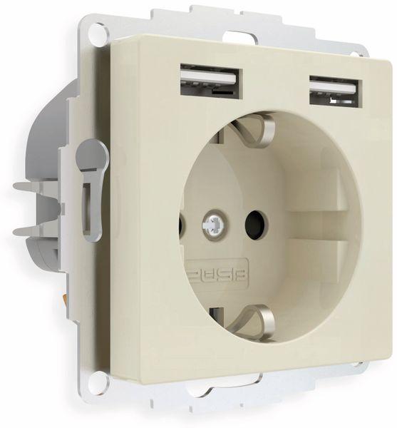 Schutzkontakt-Steckdose 2USB inCharge Pro, 2x USB, 2,4 A, cremeweiß glänzen - Produktbild 2