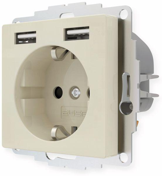 Schutzkontakt-Steckdose 2USB inCharge Pro, 2x USB, 2,4 A, cremeweiß glänzen - Produktbild 3