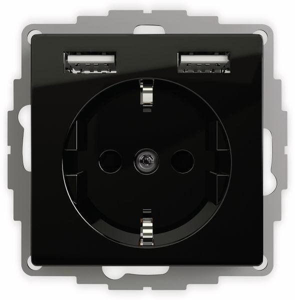 Schutzkontakt-Steckdose 2USB inCharge Pro, 2x USB, 2,4 A, schwarz