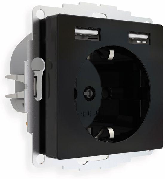 Schutzkontakt-Steckdose 2USB inCharge Pro, 2x USB, 2,4 A, schwarz - Produktbild 2