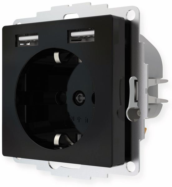 Schutzkontakt-Steckdose 2USB inCharge Pro, 2x USB, 2,4 A, schwarz - Produktbild 3