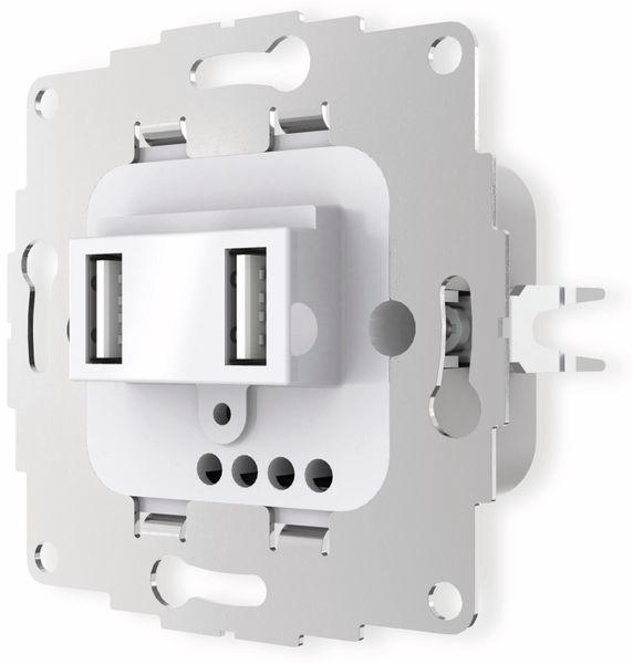 USB Ladestation 2USB chargeUP TAE,2x USB, 2,4 A, reinweiß glänzend - Produktbild 3