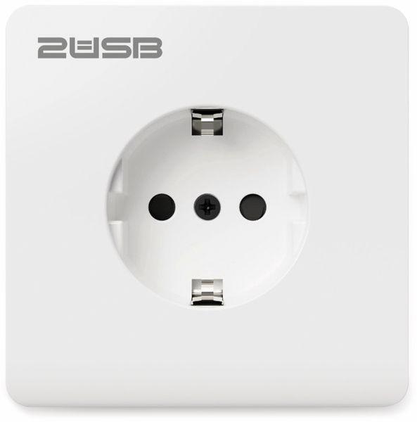 Schutzkontakt-Steckdose 2USB easyCharge 8080, AP, 2x USB, 2,4A, Handyhalter - Produktbild 2