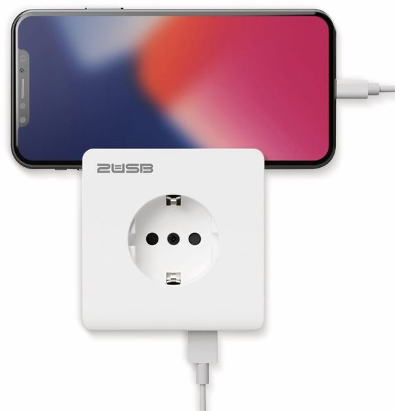 Schutzkontakt-Steckdose 2USB easyCharge 8080, AP, 2x USB, 2,4A, Handyhalter - Produktbild 5