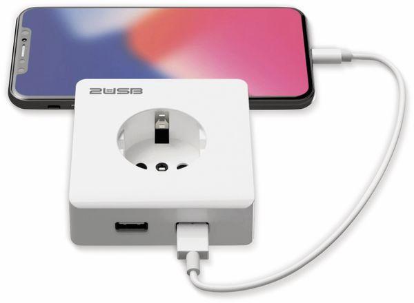 Schutzkontakt-Steckdose 2USB easyCharge 8080, AP, 2x USB, 2,4A, Handyhalter - Produktbild 6