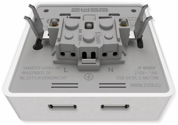 Schutzkontakt-Steckdose 2USB easyCharge 8080, AP, 2x USB, 2,4A, Handyhalter - Produktbild 7