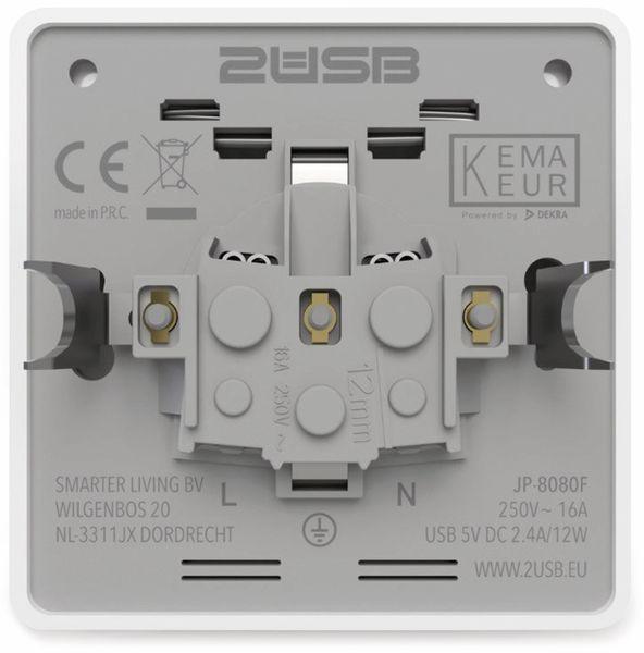 Schutzkontakt-Steckdose 2USB easyCharge 8080, AP, 2x USB, 2,4A, Handyhalter - Produktbild 8