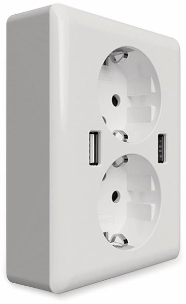 Schutzkontakt-Steckdose 2USB easyCharge Duo, AP, 2x USB, 2,4A, Handyhalter
