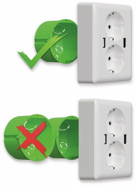 Schutzkontakt-Steckdose 2USB easyCharge Duo, AP, 2x USB, 2,4A, Handyhalter - Produktbild 4