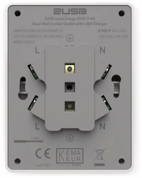 Schutzkontakt-Steckdose 2USB easyCharge Duo, AP, 2x USB, 2,4A, Handyhalter - Produktbild 7