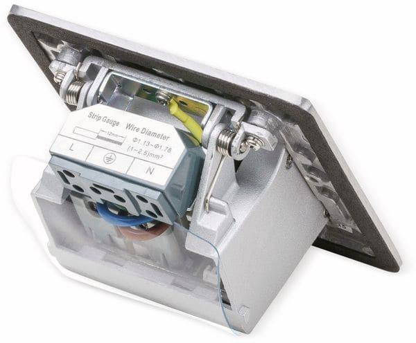 Boden-Einbausteckdose LEDmaxx, 1x Steckdose, 1x RJ45, Alu, eckig - Produktbild 3